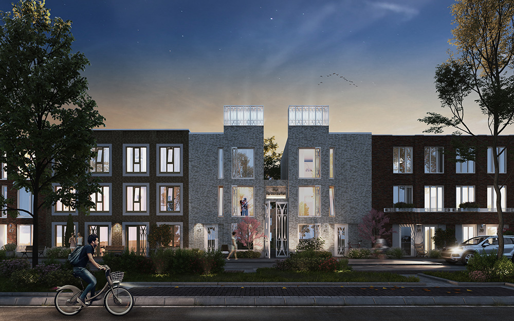 Art Deco lekkerEIGENhuis woningen - Nieuwbouwproject Leeuwesteyn Utrecht - Avond Impressie