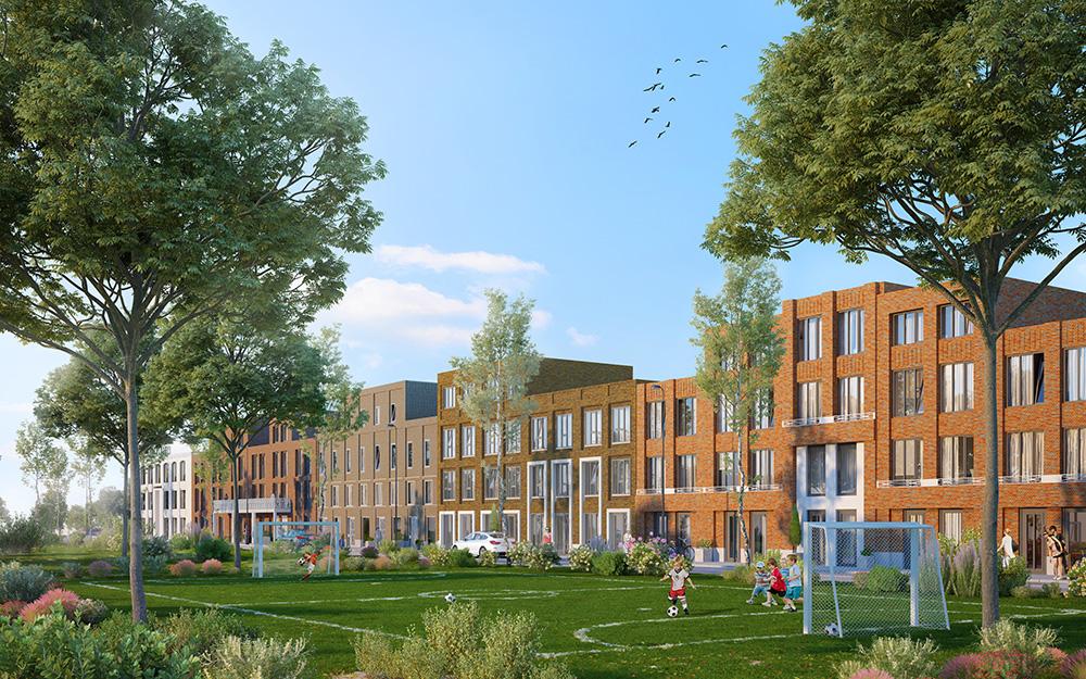 Art Deco lekkerEIGENhuis woningen - Nieuwbouwproject Leeuwesteyn Utrecht - Voetbalveld